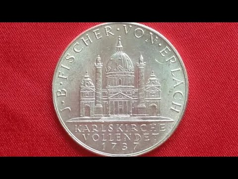 AUSTRIA 2 SILVER SCHILLING 1937 (UNC) - Bicentennial - Completion of St. Charles Church 1737
