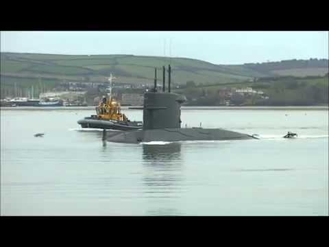 HNLMS WALRUS (Dutch Sub) leaving Devonport Dockyard in Plymouth