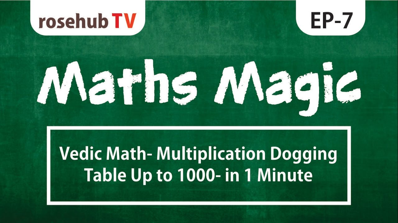 Vedic Math- Multiplication dogging table Up to 1000- in 1 minute ...