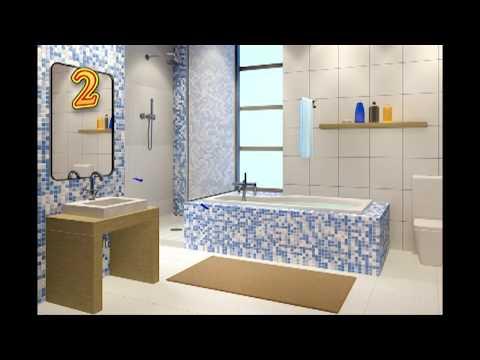 Базовые варианты применения мозаики в ванной комнате.
