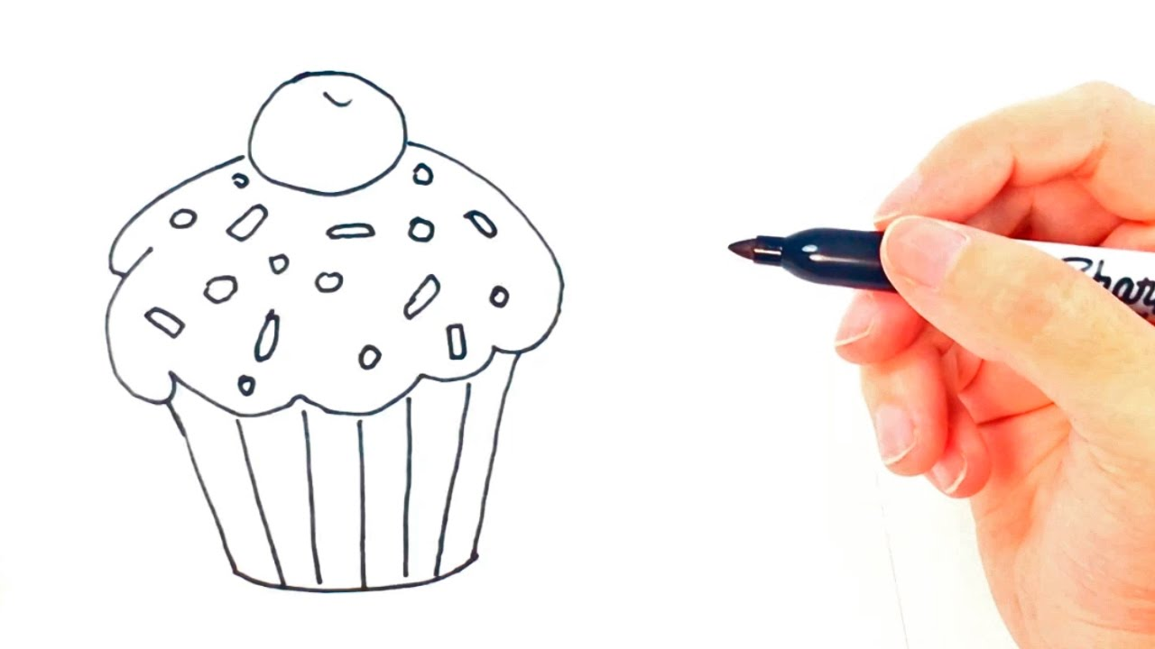 Uncategorized Drawing Of A Cupcake how to draw a cupcake for kids drawing lesson step by step