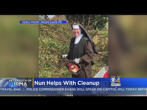 Chainsaw-Wielding Nun Helps With Irma Cleanup