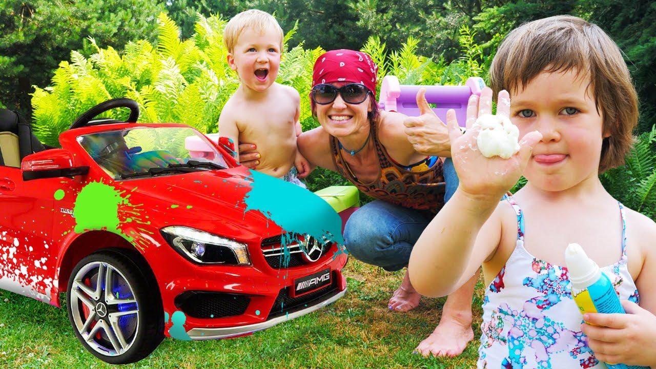 Бьянка и Карл моют грязные машинки - Игры с детьми в автомойку   Детские песни