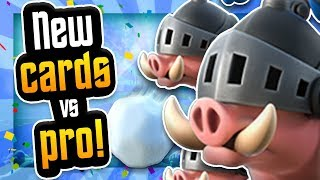 ROYAL HOGS & GIANT SNOWBALL GAMEPLAY vs PRO! Clash Royale NEW CARDS!