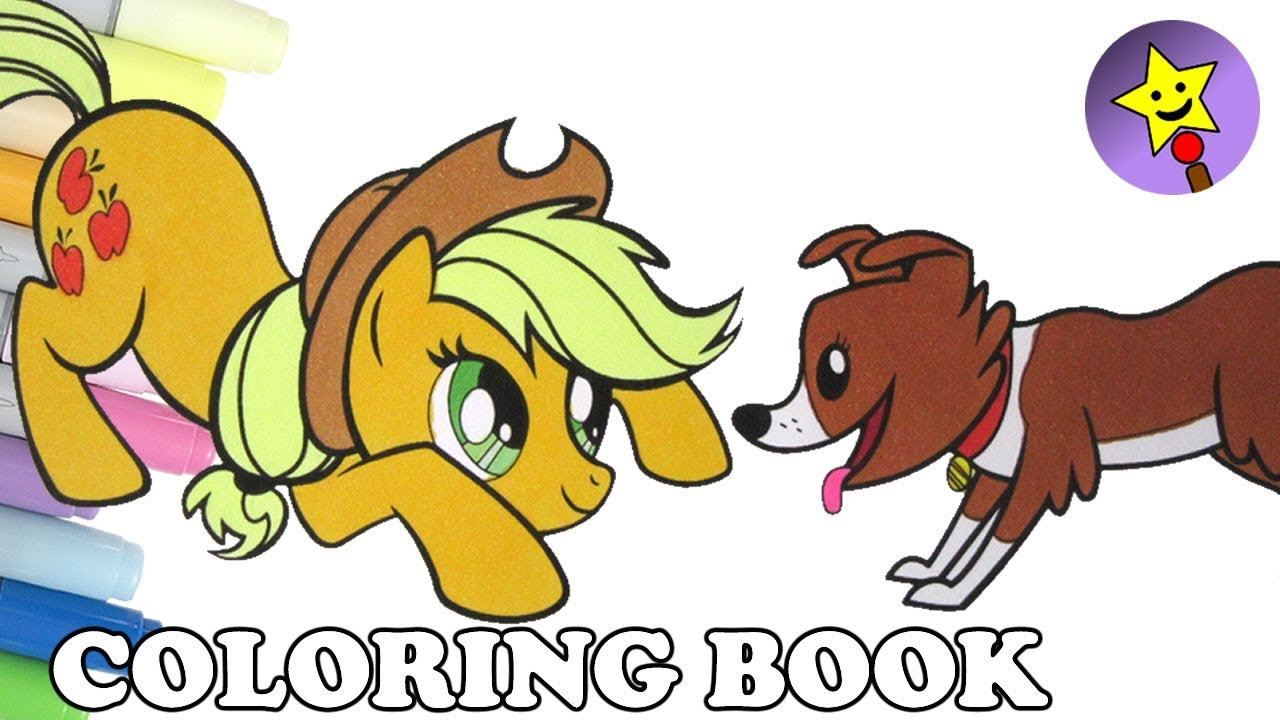 applejack coloring book page mlp my little pony applejack and winona coloring page for kids art - Applejack Coloring Pages