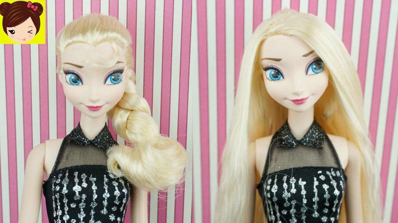 23cd09a2d Rapunzel Le Alisa el Cabello a Elsa en el Salon de Belleza - Como alisar  cabello de muñecas - YouTube