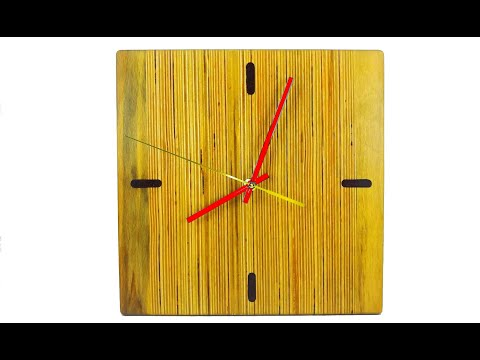DIY square wall clock out from scrap plywood