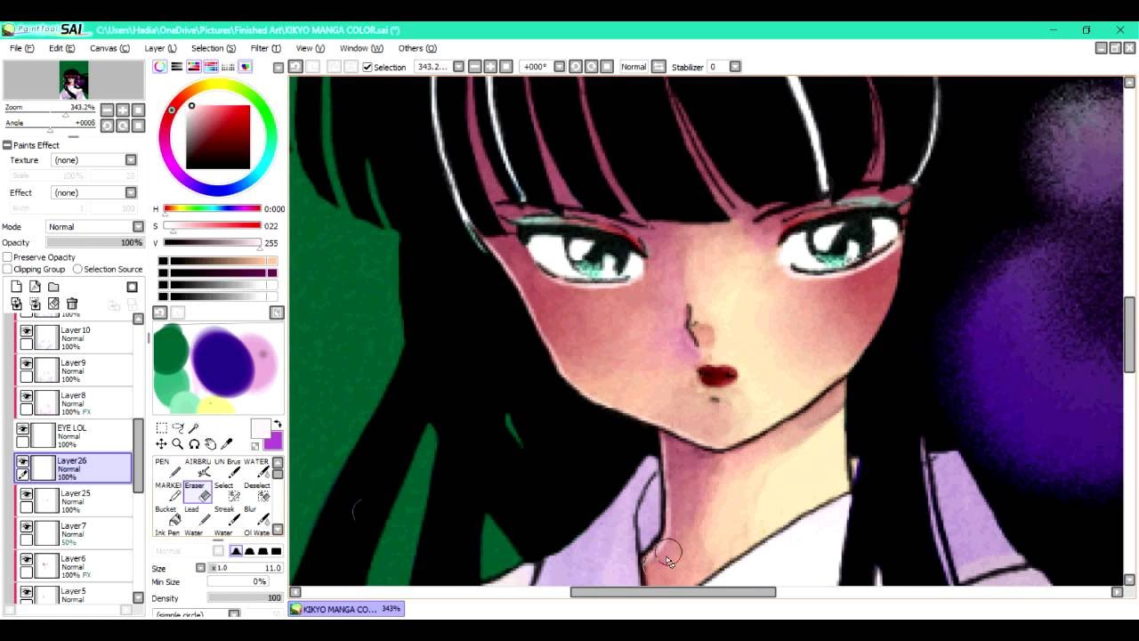 kikyo manga coloring speedpaint - YouTube