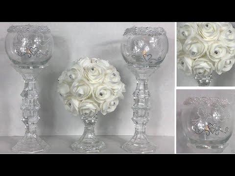 diy-elegant-lit-white-wedding-candle-holders-/-dollar-tree