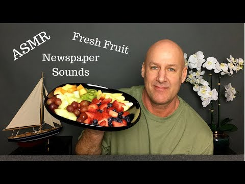 ASMR:Eating Fresh Fruit With Relaxing Newspaper Sounds~Soft Spoken