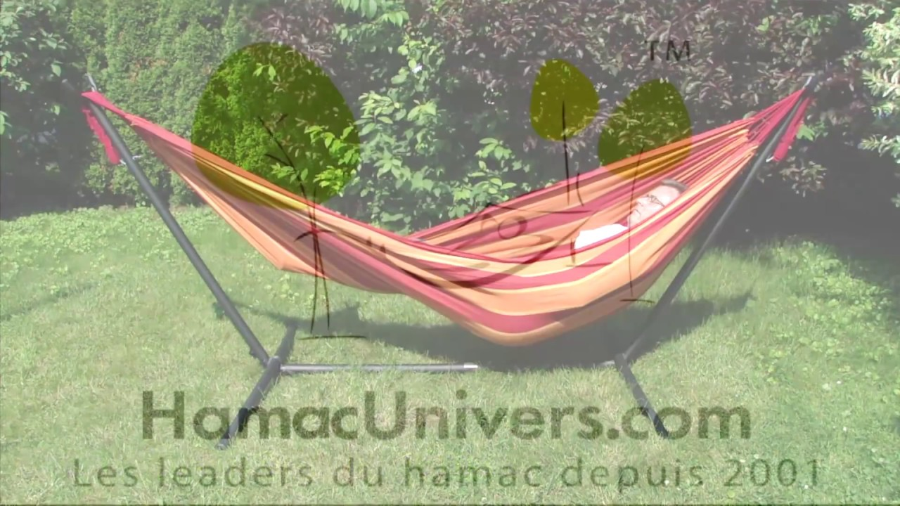 support universel pour hamac sans barres de bois par hamac univers youtube. Black Bedroom Furniture Sets. Home Design Ideas