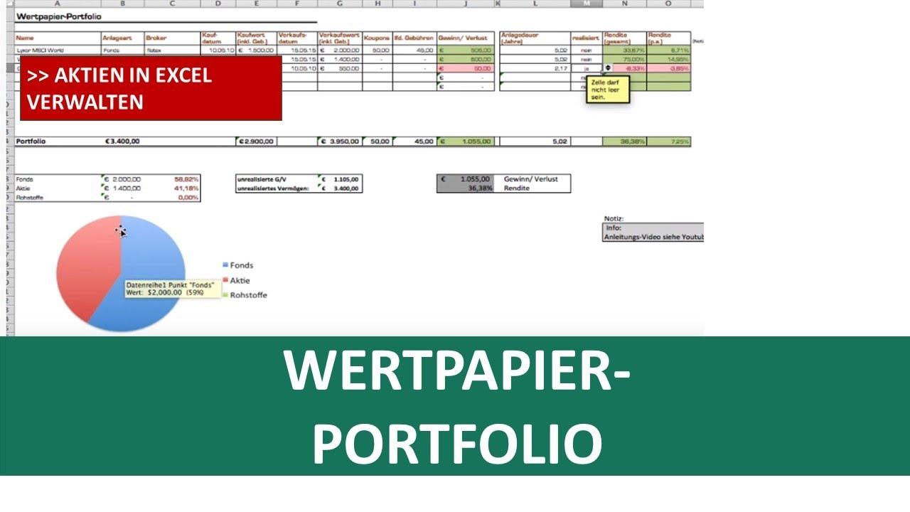 Excel Portfolio-Vorlage I Excelpedia - YouTube