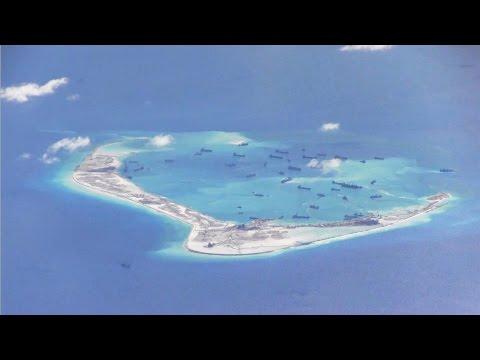 U.S. Navy P-8A Poseidon flies over new islands in South China Sea #2