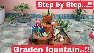How to make fountain at home step by step, home Fountain, How to make Garden fountain at home,