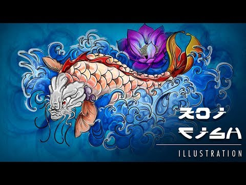 Koi Fish | Vector Illustration TimeLapse