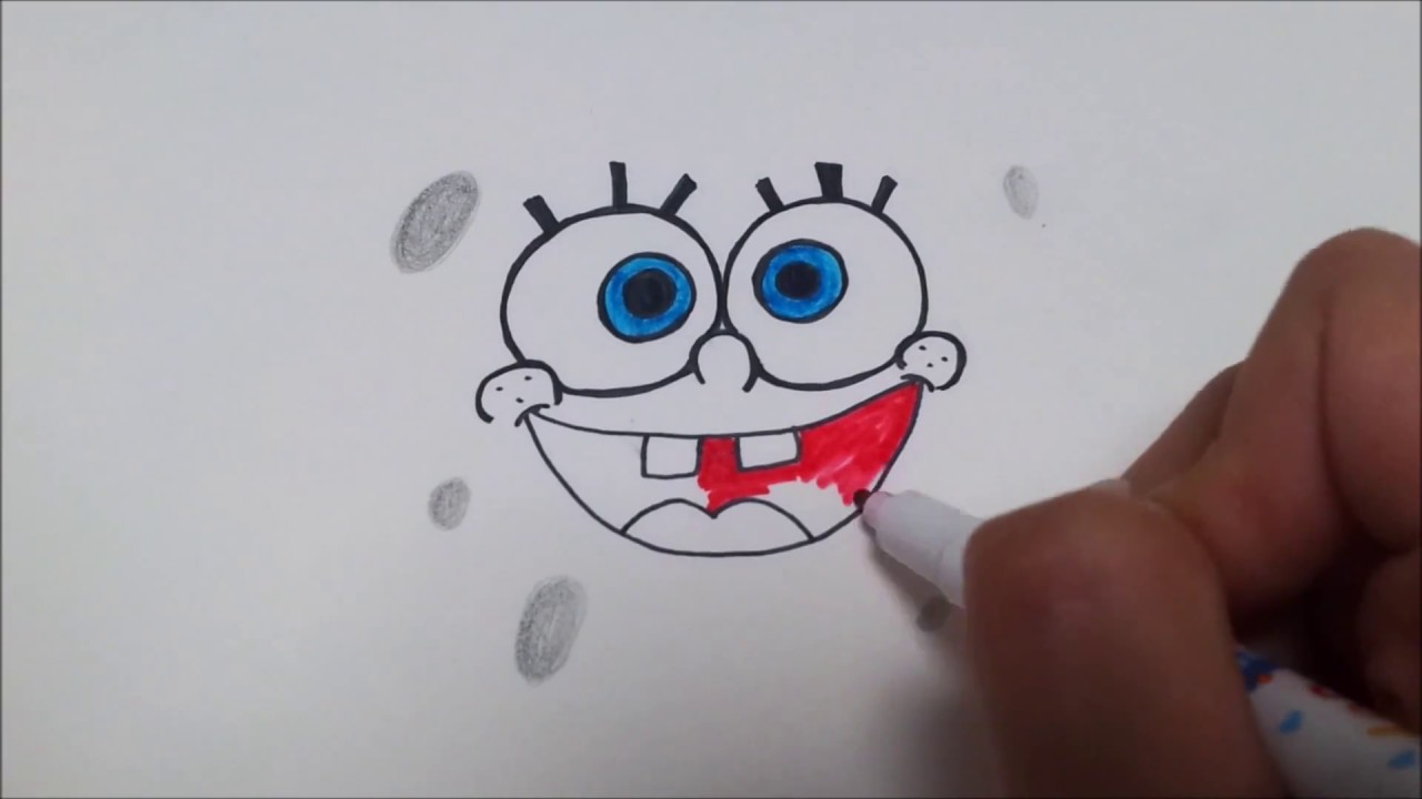 how to draw spongebob face