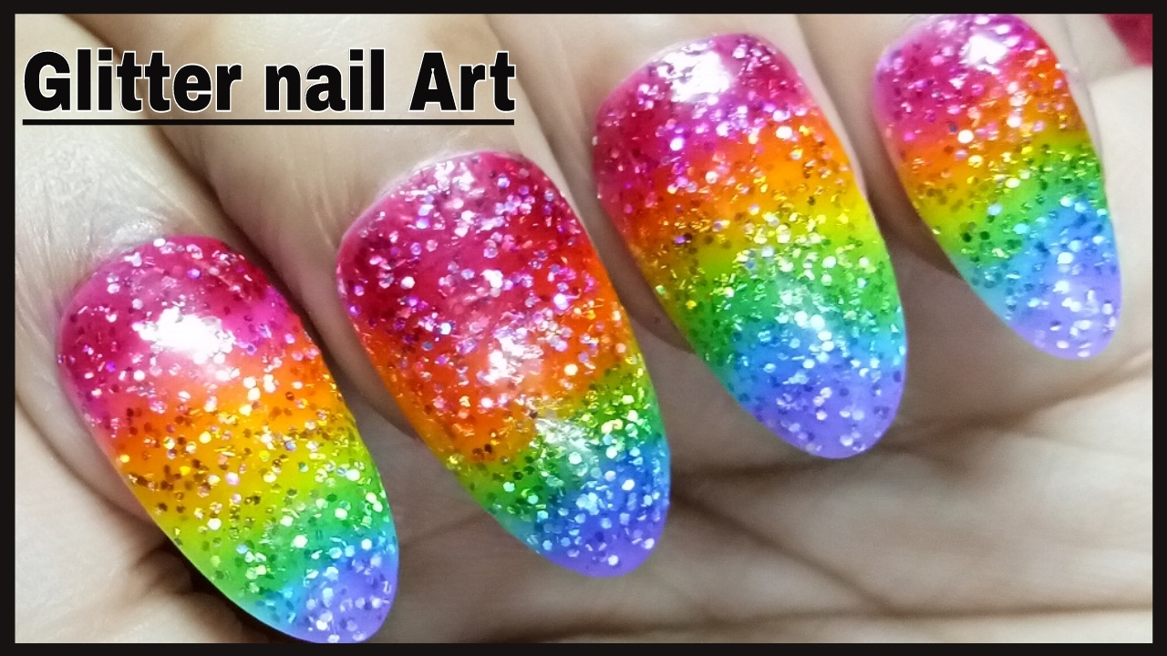 Beautiful glitter nail gel art designs with colourful glitter gel beautiful glitter nail gel art designs with colourful glitter gel nail polish at home prinsesfo Images