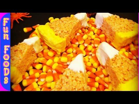 Candy Corn Rice Crispy Treats (Halloween Treats)