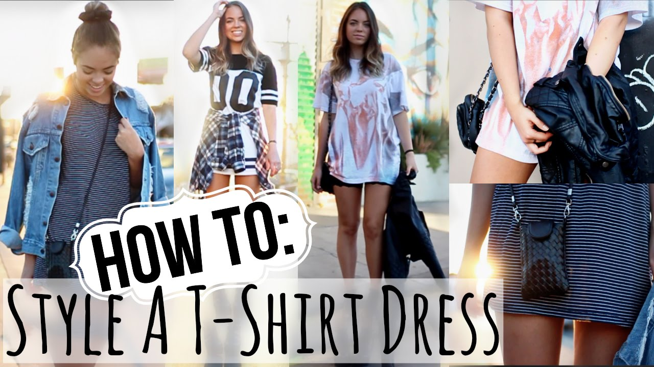 eb02a2e7a78 FALL LOOKBOOK  How to Style A T-Shirt Dress! - YouTube