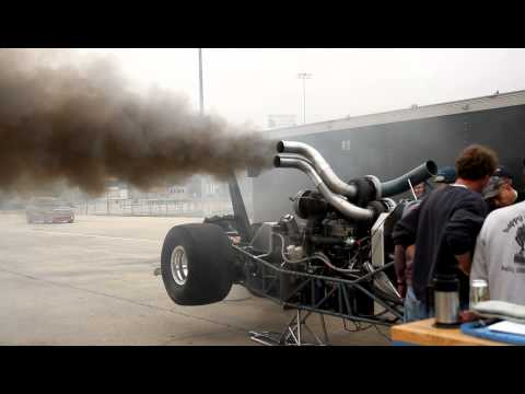 TRIPLE TURBO DIESEL DRAGSTER WARMING UP! NEW VIDEO LINK IN DESCRIPTION!