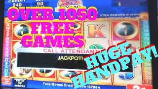 MEGA JACKPOT Handpay!! Quest for Riches Over 1050 free Game Huge Re-Trigger! My Biggest WIN!