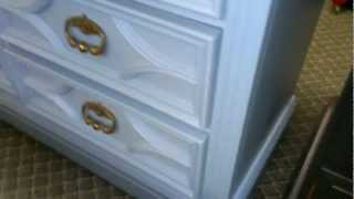 Shabby Chic Blue Carved 9 Drawer Dresser