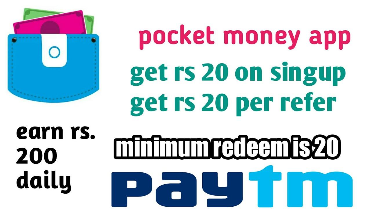 pocket money app Loot get rs 20 on singup + 20 per refer || redeem in paytm  // minimum redeem is 20