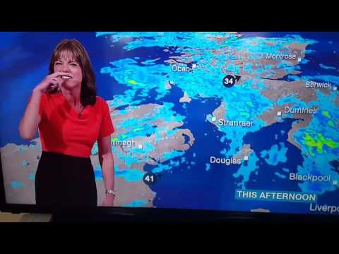 BBC Weather presenter Louise Lear can't stop laughing - 3rd August 2016