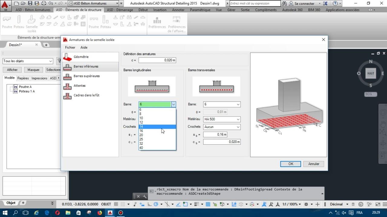 Calcul le Ferraillage de Poutre Poteau Escalier avec AutoCAD Structural Detailing 2015