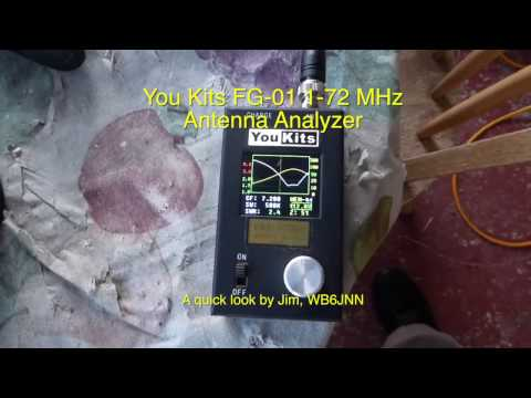 YouKits FG 01 Antenna Analyzer Used to Test a 40m Whip Antenna
