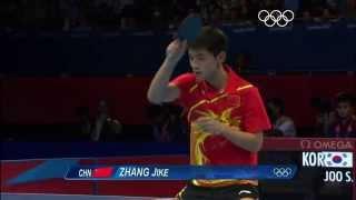 Настольный теннис. Топ спин справа от Zhang Jike. Олимпийские игры Лондон 2012.