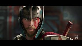 The director Taika Waititi narrates a sequence from his film featuring Chris Hemsworth. (The New York Times)