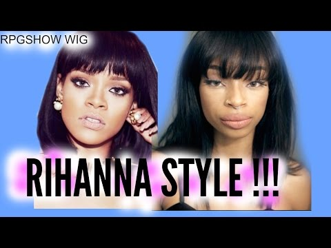 Rihanna Inspired Short Cut Bob With Bangs