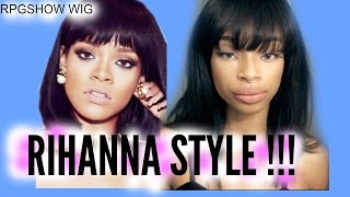 Rihanna Inspired Short Cut Bob With Bangs!