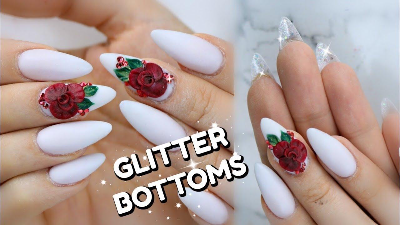 glitter bottom nails