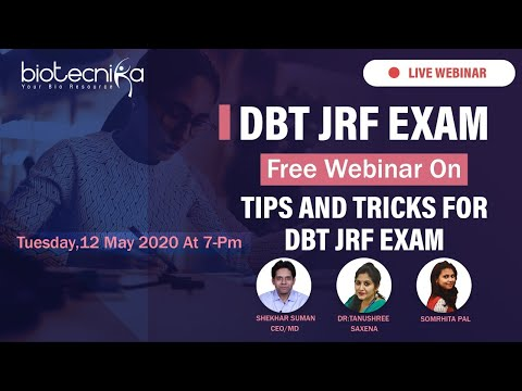 FREE Webinar : DBT JRF 2020 EXAM – Preparation Strategy For Sure Shot Success