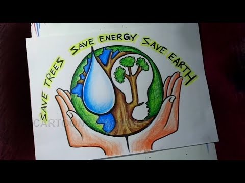 How to Draw Save Trees / Save Water / Save Energy / Save Earth Poster Drawing for Kids