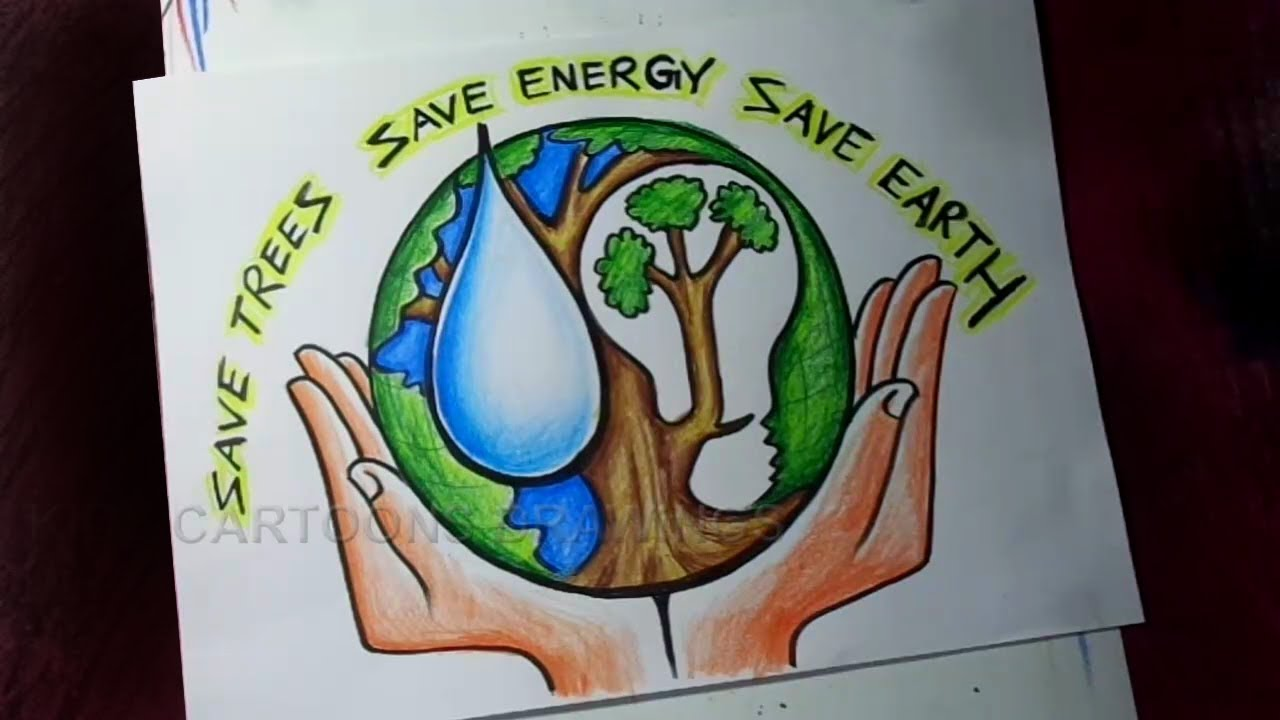 How to Draw Save Trees / Save Water / Save Energy / Save Earth Poster Drawing for Kids #1