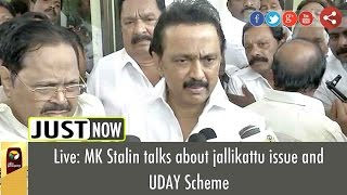 Live: MK Stalin talks about jallikattu issue and UDAY Scheme