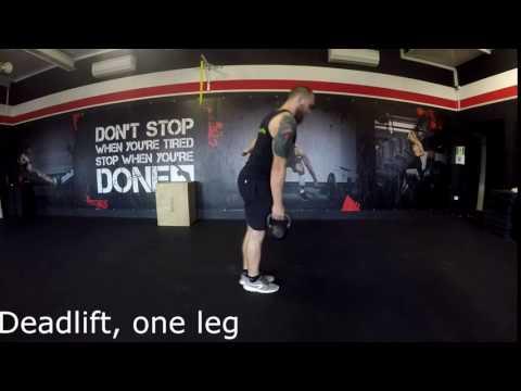 Kettlebell- Deadlift, one leg [m]