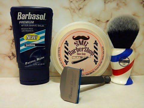 Phoenix Shaving Starling SE, SMG Soaps Barber Shop and Barbasol aftershave balm