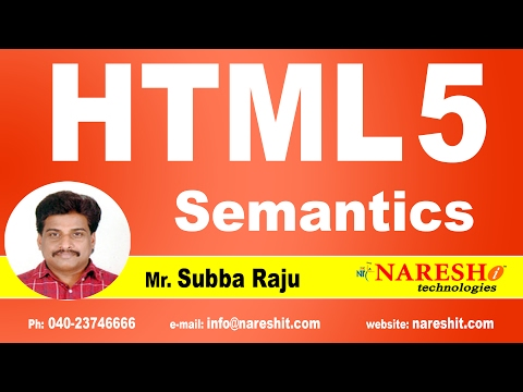 Semantics In HTML5 | Web Technologies Tutorial | Mr. Subba Raju