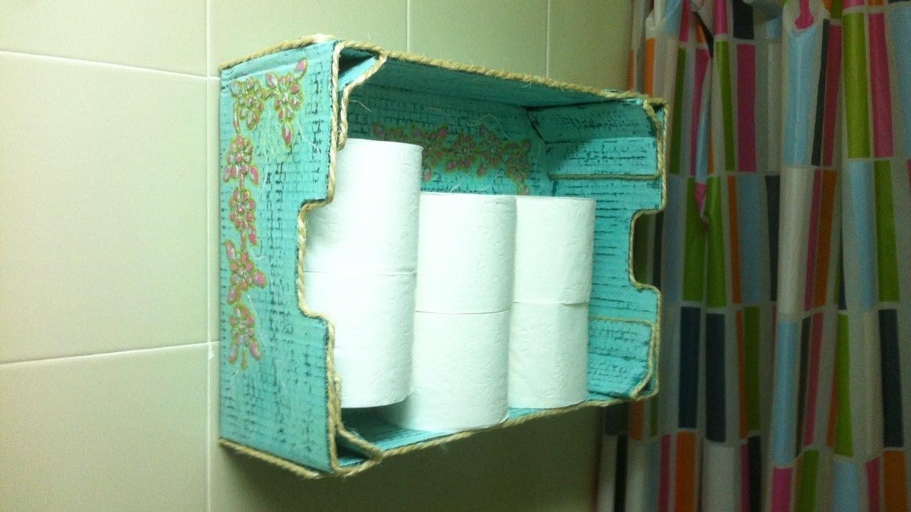 Mueble auxiliar para rollos de papel higienico hecho con - Rollos adhesivos para muebles ...