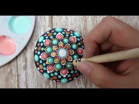 How To Paint Dot Mandalas VERY BEGINNERS STONE Handmade stone Step by Step Tutorial thumbnail