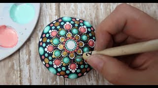 How To Paint Dot Mandalas VERY BEGINNERS STONE Handmade stone Step by Step Tutorial