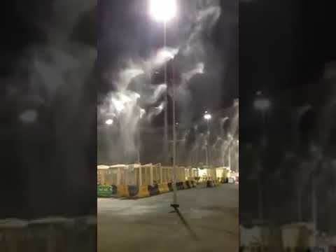 Water Sprinklers for Hajj pilgrims in Mecca for the Heat !