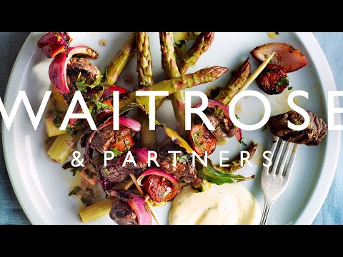 Portuguese Beef Skewers With Chorizo And Pickled Asparagus | Waitrose