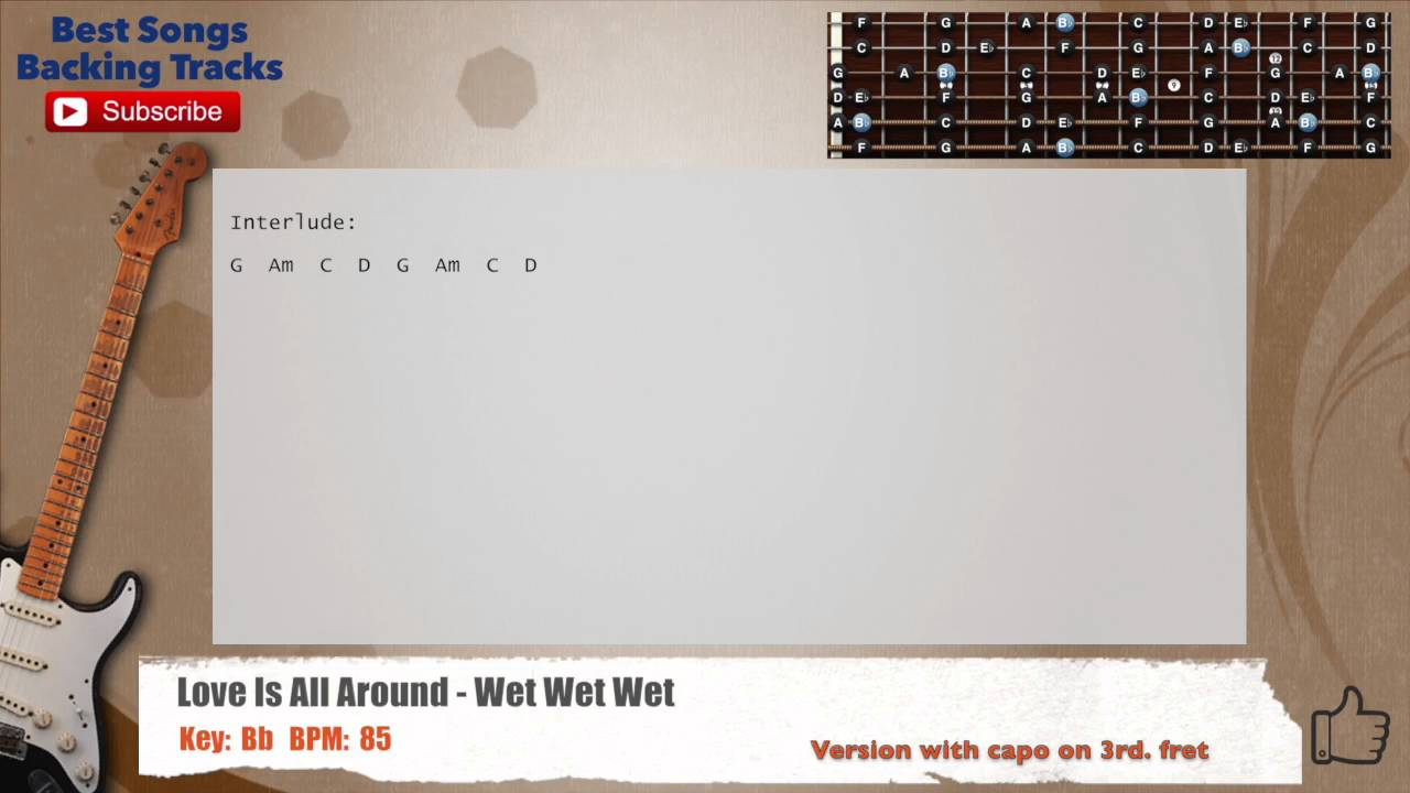 Love Is All Around Wet Wet Wet Guitar Backing Track With Chords