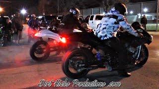 STREET RACING - WARM DECEMBER NIGHT - COPS, MONTE VS CAMARO, BIKES