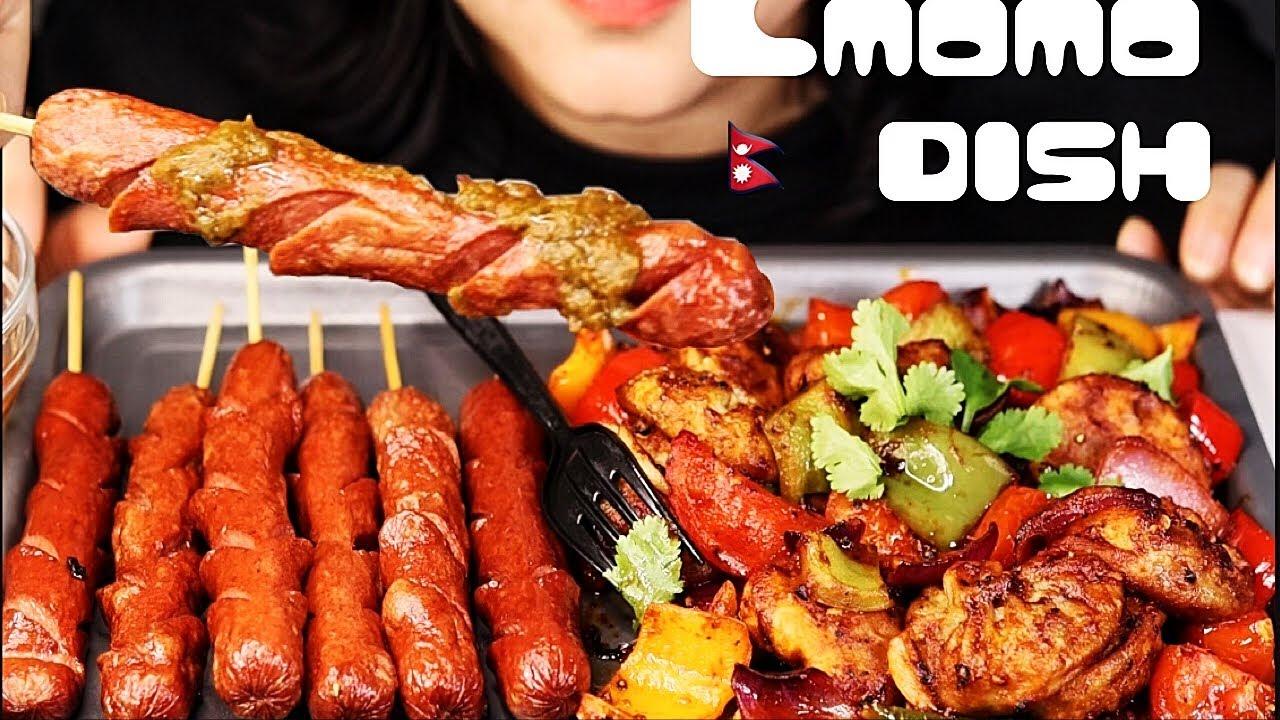 Download Nepali food cmomo , spicy momo , dumpling with spicy chicken sausage MUKBANG/ASMR